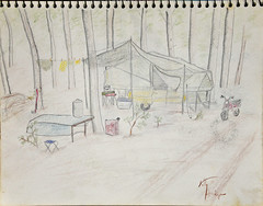 Setting Up Camp (Riversong Artist) Tags: trip camping camp pencil paper georgia sketch moms 1970s bainbridge bkhagar