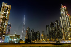 Dubai Skyline, Burj Khalifa, Landscape Shot (cityguidelounge) Tags: cityskyline skyline architecture city outdoor night building complex bulding dubaiskyline