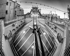 Casa Batllo Roof (derek.dpr) Tags: barcelona roof bw fish black rooftop monochrome architecture mono noir olympus architectural fisheye gaudi roofline bianco casabatllo nero omd batllo rooflight em5