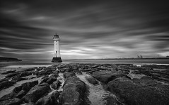 Sentinel (Pete Rowbottom, Wigan, UK) Tags: newbrighton perchrock lighthouse lighthouseuk monochrome mono blackandwhite blacknwhite blackandwhitelongexposure longexposure longexposurelandscape slowshutterspeed slowshutter leefilters shore shoreline uk uklandscape ukcoast ukcoastline ukbeaches ukseascape rocks beach cloudmovement cloudscape lowtide peterowbottom nikond750 coastal coastline merseyside wirral thewirral sunset movement dramatic dramaticsky contrast explore inexplore amazing