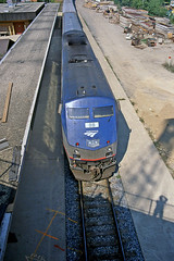 Seeing My Shadow (craigsanders429) Tags: amtrak amtraktrains amtrakstations p42dc amtrakp42locomotives annarbormichigan amtrakp42dcno33 railroadtracks amtrakslakecities trainstations railroadstations passengertrains passengercars