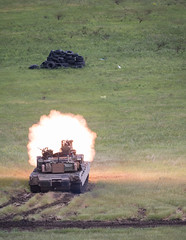 Abrams Tank Firing Round (Warriorwriter) Tags: georgia eurasia gamarjveba1 kvemokartli ge noblepartner military dod armedforces training exercise partnership security defense usa uk tank abrams flags