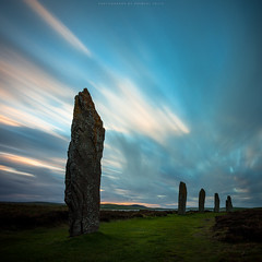 Neolithic Orkney (Premysl Fojtu) Tags: uk longexposure blue sky motion grass stone clouds rural canon square landscape island eos evening scotland countryside twilight orkney standingstones stenness dusk stones country dramatic wideangle nd historical mystical dreamy fullframe dslr historicscotland goldenhour mainland dreamscape neolithic stonecircle ringofbrodgar menhir ndfilter effective ef1740 1000x 5dmkii