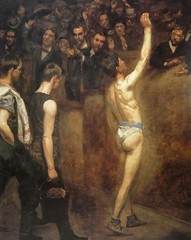 """Salutat"" (1898) by Thomas Eakins. (lhboudreau) Tags: art sports sport painting athletics artist fighter audience masculine paintings realist painter athletes boxing athlete macho anatomist realism humanbody eakins 1898 thomaseakins sportsevents sportingevent humanfigure billysmith salutat sportsart realistpainters realistpainter exuberantaudience theabsolutemale thomaseakinstheabsolutemale johnesten philadelphiaarena benjamineakins dextravictriceconclamantessalutat paintingfromthenude machosports"