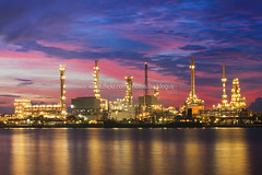 Sunrise and the Refinery (baddoguy) Tags: light sunset sky cloud sunrise river thailand energy bangkok landmark images business getty iconic refinery gettyimages chaophraya petroleum bangchak gettyimagesstock