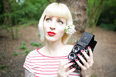 Red & Green (333Bracket) Tags: camera flowers red portrait green london girl woods stripes tattoos blogging blonde fullframe hampsteadheath twinreflex seagull4a103 333bracket canon5dmk2 ef40mmf28stm