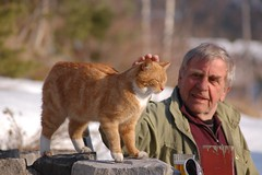 Best of friends :) (Grey travel) Tags: trees friends people pet snow man norway cat easter person togetherness focus looking buddies friendship mr bokeh outdoor relaxing elderly petting telemark gettyimages interaction earlyspring companions stonefence gi0613 curatorset gap0513