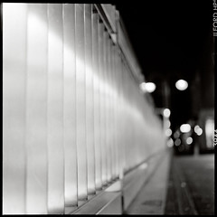 Razor Blades (Boris Brckhuser [ Moved to Ipernity ]) Tags: street city light urban bw 120 6x6 tlr film window night rolleiflex mediumformat lights evening blackwhite twilight lowlight darkness nightshot dusk pavement availablelight squareformat citylights handheld lowkey poeple urbanlandscape twinlensreflex autaut frameborders