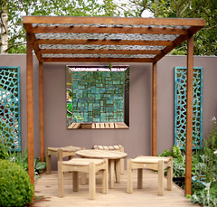 Bronze wall panels (David Harber) Tags: chelsea rhs chelseaflowershow