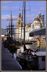 Liverpool postcard (* RICHARD M) Tags: england heritage tourism water architecture liverpool docks yacht ships towers bridges quay clocktower maritime wharf threegraces nautical shipping domes masts tallships rigging pierhead albertdock scapes sailingships quayside moorings merseyside dockland royalliverbuilding capitalofculture portofliverpoolbuilding cunardbuilding mannisland maritimeheritage