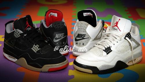 1999 Air Jordan 4 Black Cement Bred vs 1999 Air Jordan 4 White Cement  Cookies and 8829b3cee3ef