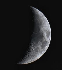 Setting Crescent Moon 14-06-13 (James Lennie) Tags: moon nature canon photography luna crescent craters devon nightsky dslr lunar moonset waxing moonshot crescentmoon northdevon waxingmoon refractor ed80 primefocus skywatcher mooncloseup lunarphase lunarphotography canon600d lunarcloseup