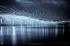 Banpo Bridge Selenium Blue (MarkDeibertPhotography) Tags: water fountain night lights zoom korea seoul southkorea hanriver banpobridge