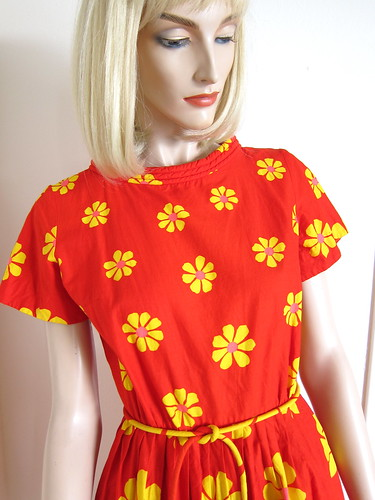 60s Vintage Swirl Red Wrap Dress