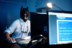"167/365 - ""I'm Batman"" nr.17 - EXPLORED - Jul 29, 2013 #129 (Luca Rossini) Tags: portrait man guy work project computer mouse blog office pc sitting room sony cubicle screen 365 job typing employee clicking imbatman rx1 365daysofrx1onecameraonelens12projects"