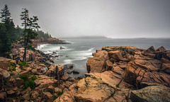 Misty morning at Thunder Point (Photosequence) Tags: road park bar point island harbor rocks desert loop maine national thunder acadia