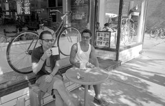 We're Having Coffee (Fogel's Focus) Tags: chicago coffee bike bicycles diafine acros ricohgr1v 4545 film:iso=100 legacypro100 acufinediafine developer:brand=acufine developer:name=acufinediafine film:brand=freestylearista freestylearistalegacypro film:name=freestylearistalegacypro100 parkedandlocked filmdev:recipe=8912