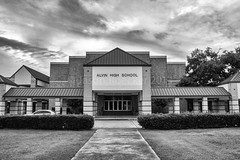 Alvin High School (jasonroecker) Tags: school blackandwhite bw texture monochrome sign america landscape found town experimental texas hometown small explore americana alvin countrylife 60d sigma183518