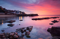 The harbour (Stuart Stevenson) Tags: uk longexposure buildings reflections boats photography dawn lights scotland ancient dusk historic glorious colourful fishingboats 800ad quaint twinkling lobsterpots costal whitewashed earlyinthemorning crail fishingharbour clydevalley eastneukoffife autumnequinox royalburgh redtiledroofs scotlandfife theskysonfire crailharbour canon5dmkii stuartstevenson stuartstevenson wwwzerogravitymeuk