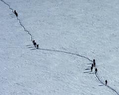 Chamonix, massif du Mont-Blanc, randonne en valle Blanche (Ytierny) Tags: france horizontal trace glacier neige chamonix montblanc alpinisme piste randonne hautesavoie valleblanche corde massifdumontblanc hautemontagne alpesdunord ytierny