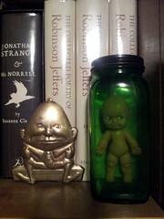 Creepy Rubber Kewpie Doll in a Pharmaceutical Jar; Old Doll in a Jar (5) (Rat Dragon) Tags: green vintage weird 60s doll rubber creepy odd jar 50s humpty dumpty kewpie flickrandroidapp:filter=none
