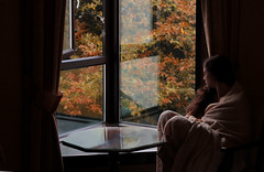 autumn (nne) Tags: autumn trees woman selfportrait reflection window girl leaves self mood afternoon emotion room dream indoor thoughts blanket curtains warmlight selfie warmcolours kraemer annekrmer