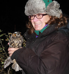Laura and Long-eared Owl at Hawk Ridge: Photo by Lisa Johnson (Laura Erickson) Tags: family people laura longearedowl asiootus