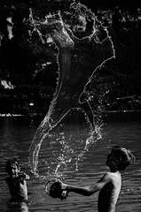 """le Bonhomme d""""eau (PaxaMik) Tags: beach vacances holidays noiretblanc plage baignade éclaboussures baigneur lacdaiguebelette watreman"""