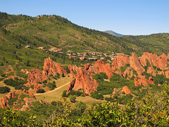 South Rim Trail at Roxborough State Park, Colorado (Batikart) Tags: travel blue autumn trees light red vacation sky usa sun mountain holiday mountains green fall nature colors leaves yellow pine america forest canon landscape geotagged us leaf woods colorado holidays rocks unitedstates natural branches urlaub laub herbst natur himmel denver september berge foliage trail co fir rockymountains geology blau douglas amerika ursula ste landschaft sonne wald bltter bume ponderosa baum vacanze formations felsen sander roxborough g11 schrge roxboroughstatepark wanderwege 100faves 2013 200faves batikart canonpowershotg11 transversely