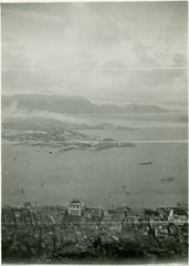 Hong Kong, View of Bay from Victoria Peak, 1933 (real00) Tags: blackandwhite bw monochrome vintage hongkong 1930s view historic victoriapeak 1933 roundtheworld hongkongbay
