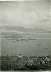 Hong Kong, View of Bay from Victoria Peak, 1933 (real00) Tags: blackandwhite bw monochrome vintage hongkong 1930s view historic victoriapeak 1933 roundtheworld hongkongbay