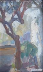 Romualdo Prati Albero olio su tavola 18,7x11,5cm di Collezione privata