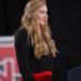 Wolfpack volleyball player sings the national anthem prior to President Obama's speech.