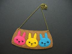 Trio curious tiny rabbits felt necklace (hanaletters) Tags: girl hat necklace panda pin handmade brooch felt fox rabbits etsy nerdy hanaletters