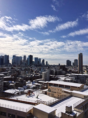 blue and white (moondrop) Tags: blue shadow sky sunlight snow japan clouds buildings tokyo cityscape