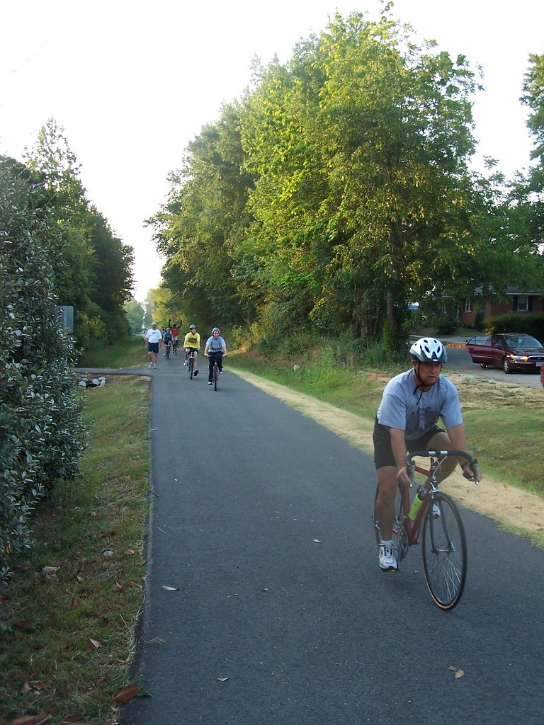 cyclists and walkers on the trail