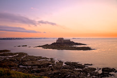 Saint-Malo Twilight Scenery - HDR (freestock.ca  dare to share beauty) Tags: ocean old travel pink sunset sea orange clif
