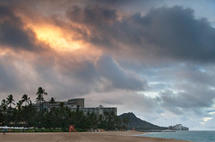 Diamond Head Sunrise (Michael Waterman) Tags: weather hawaii waikiki places beaches geography sunrises ohau sunevents