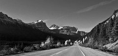 Scenic route (CNorthExplores) Tags: road travel autumn bw canada mountains canon scenic alberta banffnationalpark g11 icefieldsparkway canadianrockies explored
