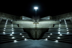 The Way Out (Tau Zero) Tags: night concrete illinois stairway urbana digitalmirror