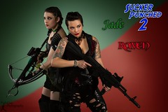 SP2: Jade & Raven (FightGuy Photography) Tags: necklace dangerous cosplay rifle tattoos armor weapon michele brunette crossbow weapons ak47 studioa asianmodel womenwithweapons scalemaile suckerpunched union206 fightguyphotography