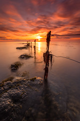 Ebbing Tide (Calum Gladstone) Tags: longexposure seascape sunrise fence sugar northumberland sands longhoughton leefilters canon6d