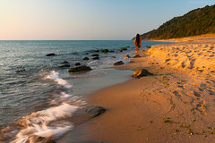 Walking (  | Svetlozar ) Tags: sea sunlight man beach forest sand wave bulgaria figure blacksea irakli