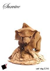 survive (-sebl-) Tags: bear square origami human survive hessian toiledejute sebl