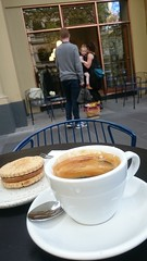 Caramel almondjaw, long black coffee AUD4 each - Market Lane Coffee, Collins Street, Melbourne - shopfront - sxz3 (avlxyz) Tags: coffee cookie drink almond biscuit caramel crema caffe blackcoffee caffelungo longblackcoffee almondjaw