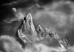 Under the spell (Sapna Reddy Photography) Tags: blackandwhite patagonia moon mountain mountains argentina monochrome landscape nationalpark surreal moonlight losglaciares