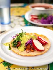 Flacos Taco (Bitter-Sweet-) Tags: vegan vegetarian food savory healthy mexican spicy flacos restaurant bayarea easybay berkeley california sanfrancisco fresh organic taco tortilla corn masa radish beans avocado