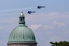 Naval Academy Chapel Dome (Piedmont Fossil) Tags: airplane team aircraft flight navy jet maryland chapel airshow demonstration dome hornet annapolis f18 academy naval blueangels fa18 2016 commissioningweek