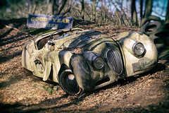 Lost in Bavaria (Martyn.Smith.) Tags: forest canon vintage germany lens bavaria eos photo rust classiccar flickr image decay neglected sigma vignette corrosion decaying corroded vintageracingcar vintagejaguar 700d jaguarracingcar 1948jaguarxk120 nikanalogueefex rallyebavaria