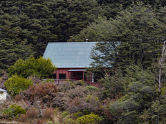 Losing Yourself (Steve Taylor (Photography)) Tags: blue trees newzealand brown house mountain building green forest bush cabin woods nz southisland railing southernalps